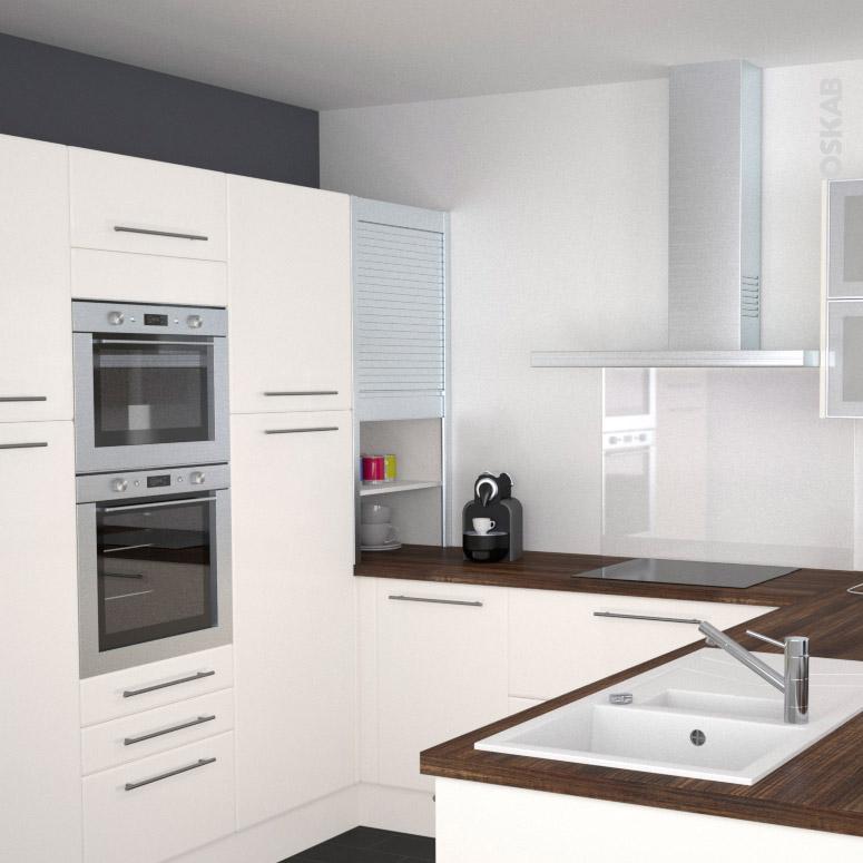 Rideau coulissant cuisine meuble de rangement vintage en for Rideaux cuisine moderne ikea