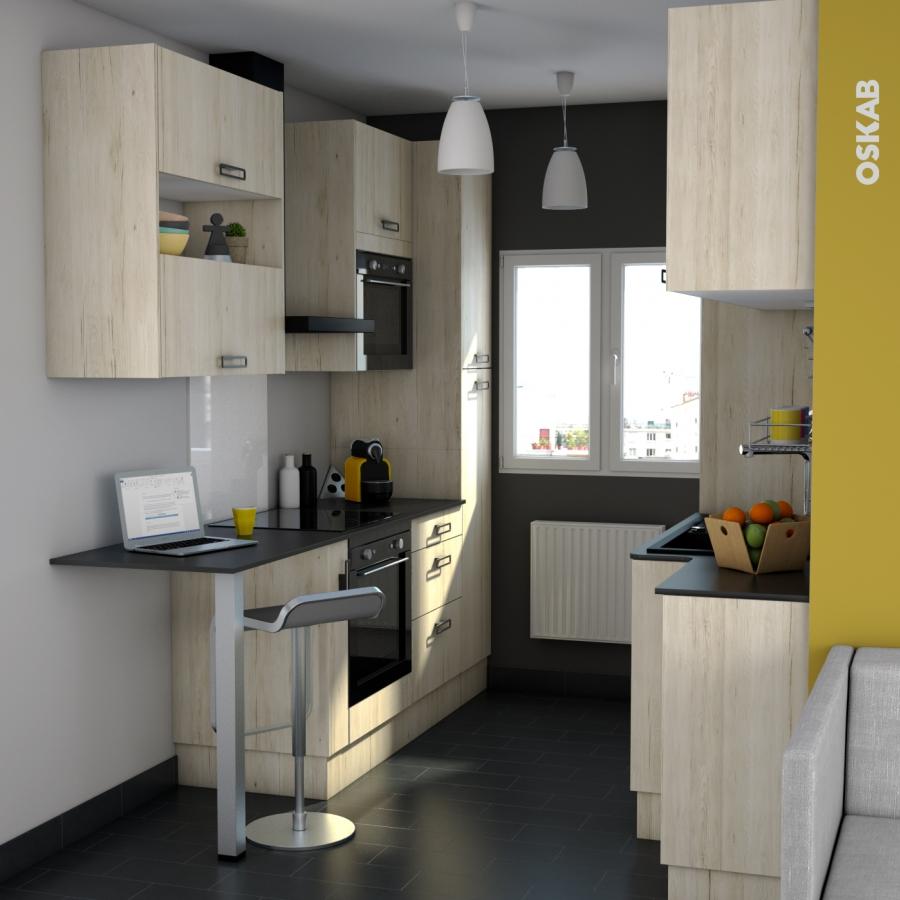 Fa ades de cuisine 2 tiroirs n 61 ikoro ch ne clair l100 x for Cuisine 3d oskab