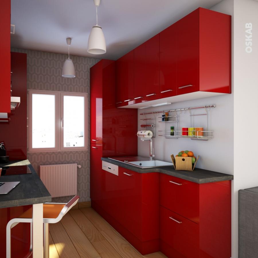 Meuble de cuisine angle bas stecia rouge demi lune - Cuisine angle pas droit ...