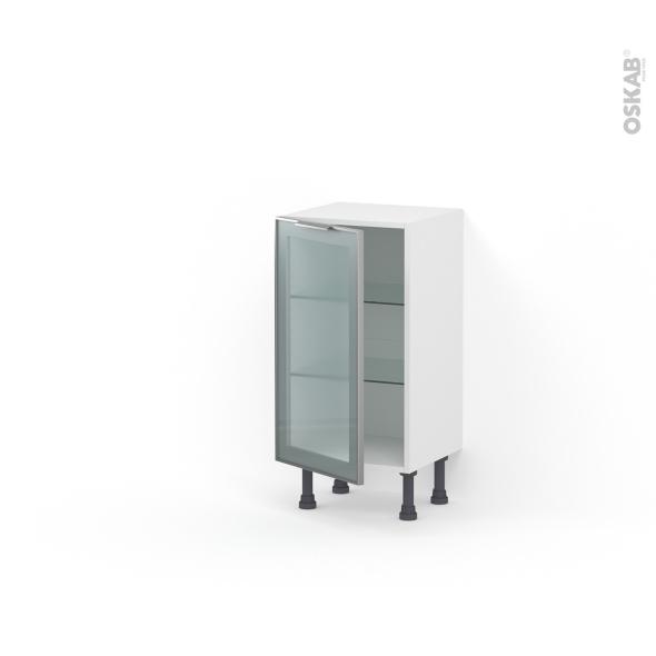 meuble de cuisine bas vitr fa ade alu 1 porte l40 x h70 x p37 cm sokleo oskab. Black Bedroom Furniture Sets. Home Design Ideas