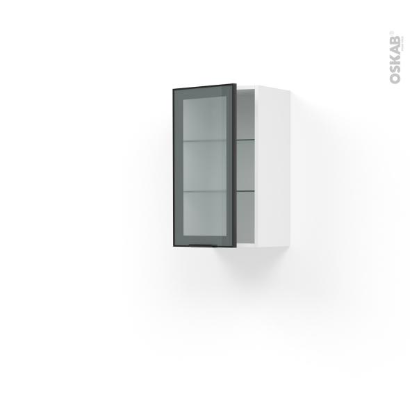Meuble de cuisine haut ouvrant vitr fa ade noire alu 1 for Meuble haut cuisine vitre
