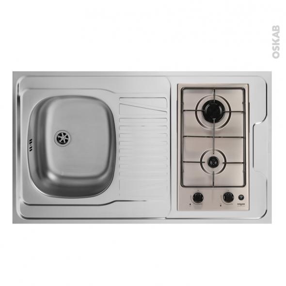 Bloc vier pour kitchenette plaque de cuisson gaz l100 x p60 cm sokleo oskab - Evier plaque de cuisson ...