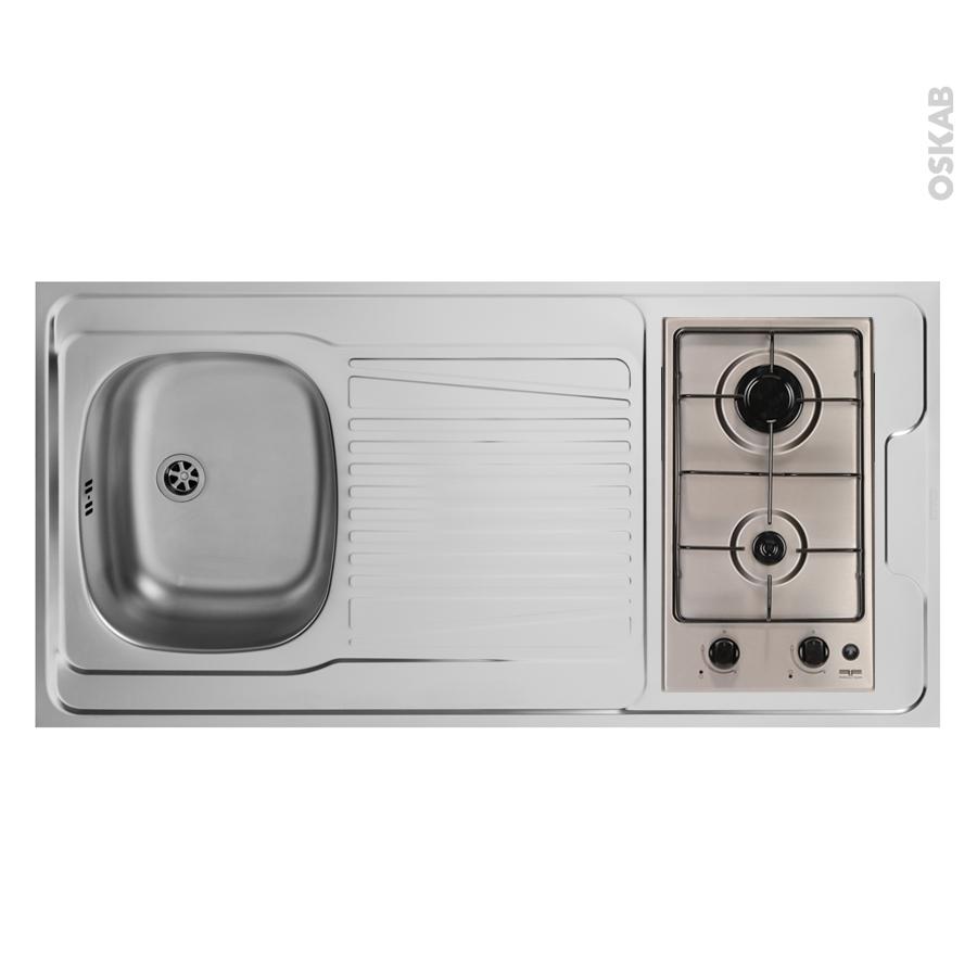 bloc vier pour kitchenette plaque de cuisson gaz l120 x p60 cm sokleo oskab. Black Bedroom Furniture Sets. Home Design Ideas