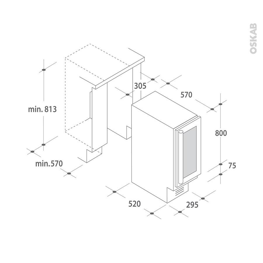 cave vin de service sous plan 30cm noir candy ccvb30 oskab. Black Bedroom Furniture Sets. Home Design Ideas