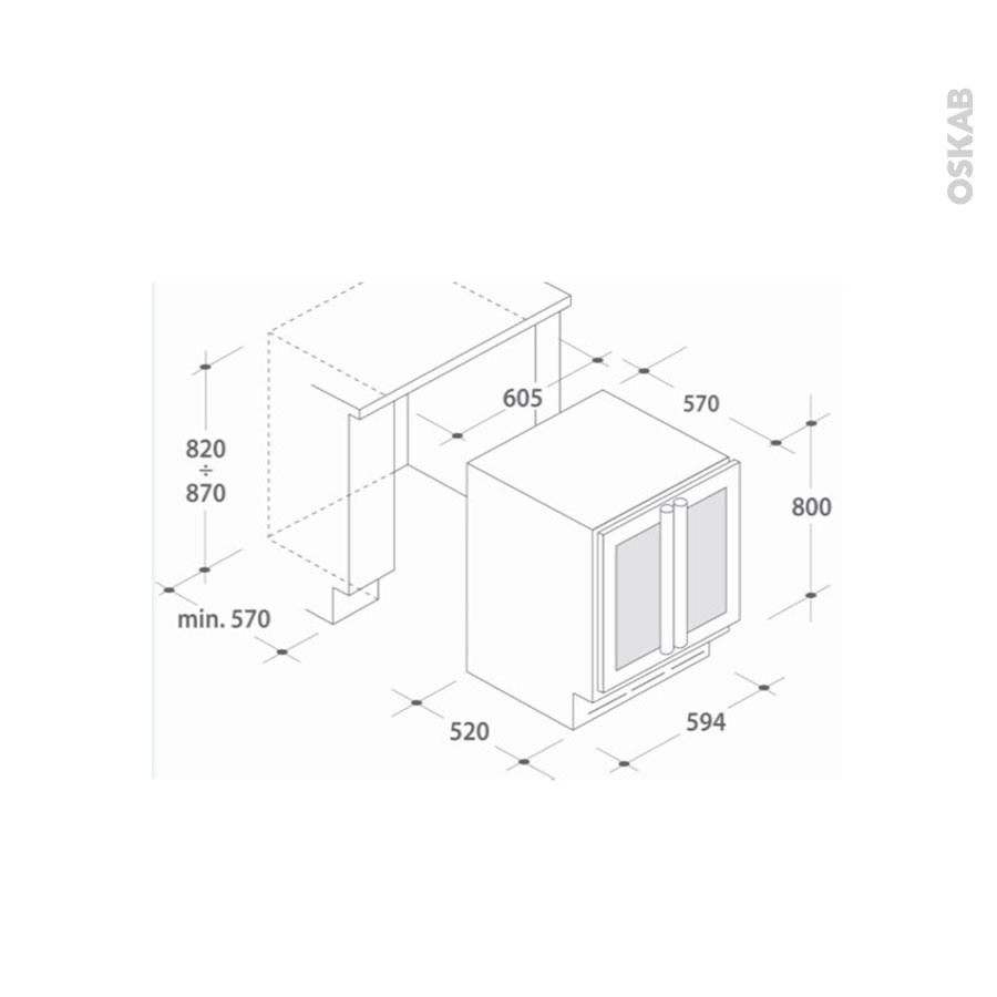 cave vin de service sous plan 60cm noir rosieres rwcb60d. Black Bedroom Furniture Sets. Home Design Ideas