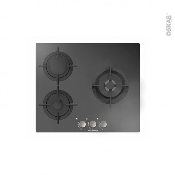 plaque de cuisson 3 feux gaz verre noir rosieres. Black Bedroom Furniture Sets. Home Design Ideas