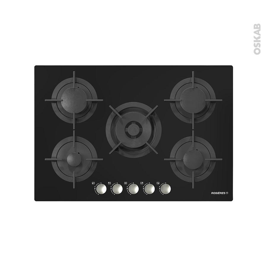 plaque de cuisson 5 feux gaz 75 cm verre noir rosieres. Black Bedroom Furniture Sets. Home Design Ideas