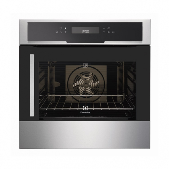 Four multifonction pyrolyse 74l inox anti trace electrolux for Four pyrolyse porte laterale