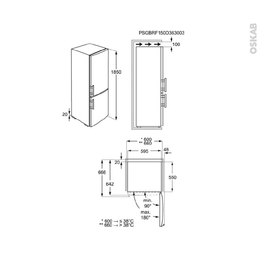 r frig rateur combin 329l pose libre 185 cm inox electrolux en3605jox oskab. Black Bedroom Furniture Sets. Home Design Ideas