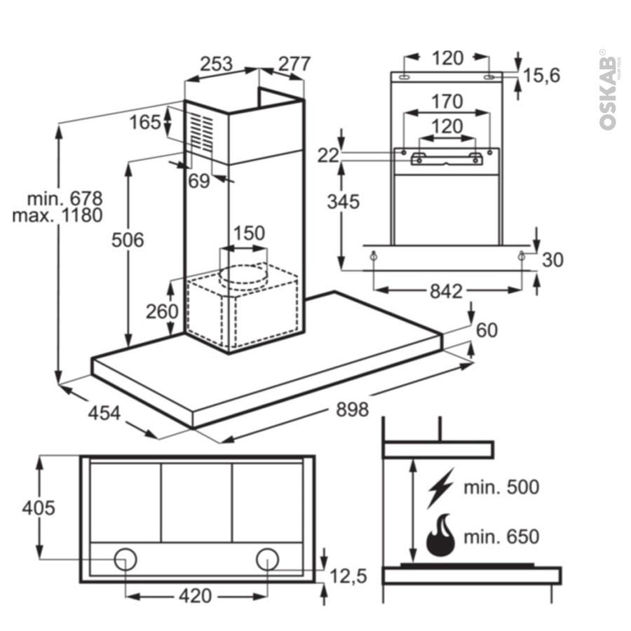 hotte de cuisine aspirante box 90cm inox electrolux. Black Bedroom Furniture Sets. Home Design Ideas