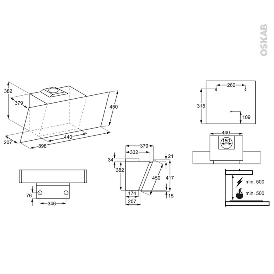 hotte de cuisine aspirante inclin e 90 cm inox faure fhv94670xa oskab. Black Bedroom Furniture Sets. Home Design Ideas