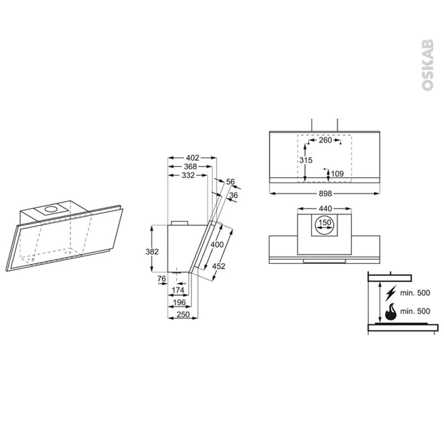 hotte de cuisine aspirante inclin e 90 cm verre blanc electrolux efv90673ow oskab. Black Bedroom Furniture Sets. Home Design Ideas