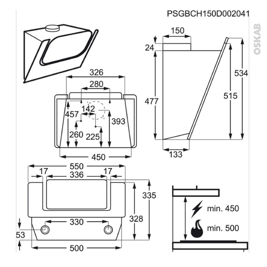 hotte de cuisine aspirante inclin e 55 cm inox electrolux efv55464ox oskab. Black Bedroom Furniture Sets. Home Design Ideas