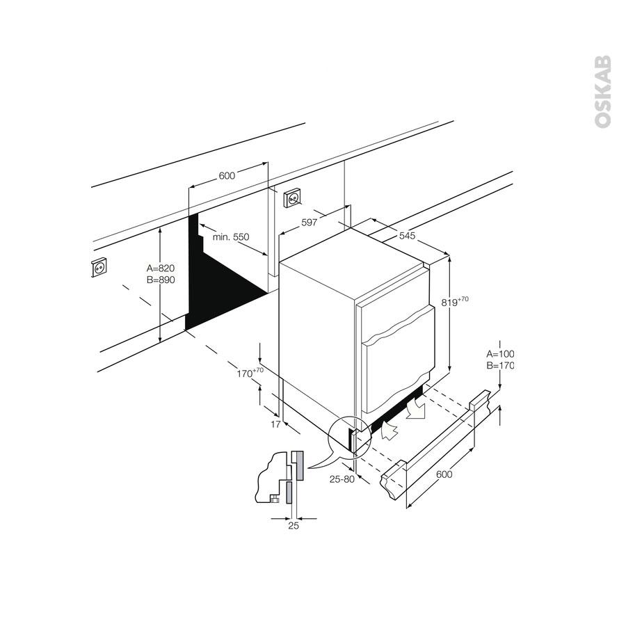 petit r frig rateur 136l sous plan int grable 82cm electrolux ery1401aow oskab. Black Bedroom Furniture Sets. Home Design Ideas