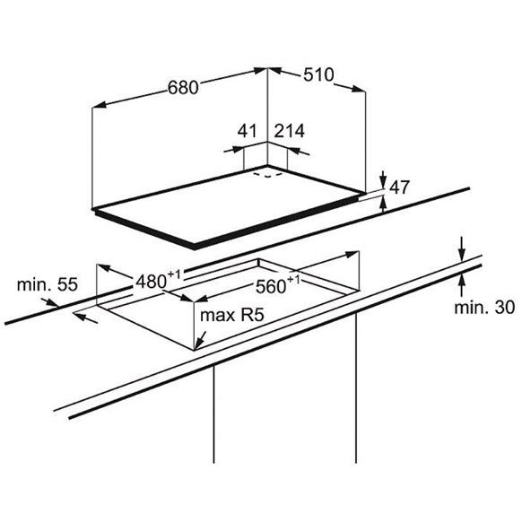 Plaque de cuisson 5 feux gaz 70 cm verre noir electrolux for Dimension plaque de cuisson