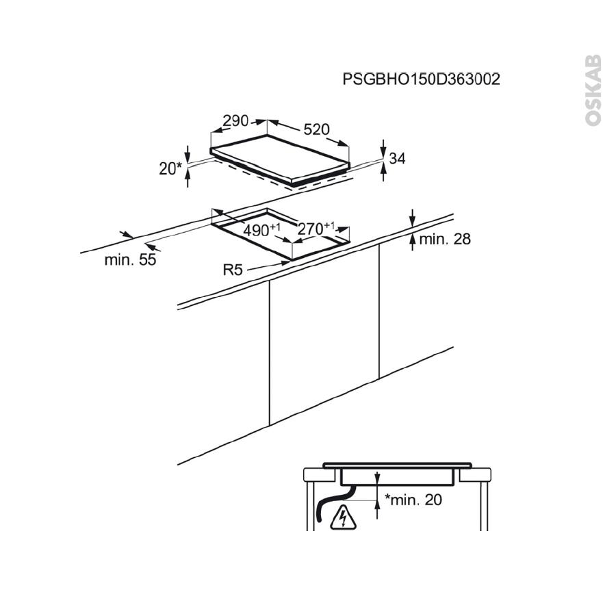 plaque de cuisson 2 feux vitroc ramique 29 cm verre noir electrolux ehf3320nok oskab. Black Bedroom Furniture Sets. Home Design Ideas
