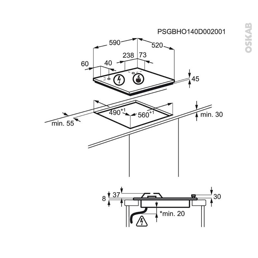 plaque de cuisson 3 feux gaz 60 cm verre noir electrolux egt6633nok oskab. Black Bedroom Furniture Sets. Home Design Ideas