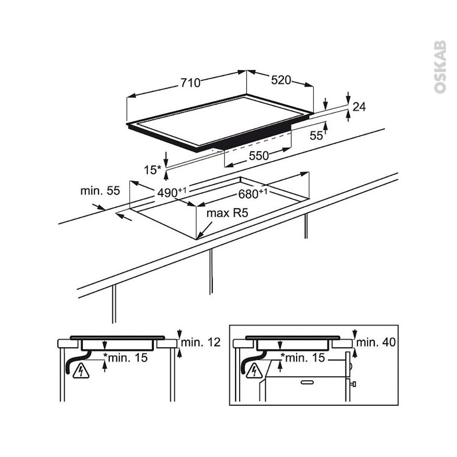 plaque de cuisson 4 feux induction 75 cm verre noir electrolux ehd7740fok oskab. Black Bedroom Furniture Sets. Home Design Ideas
