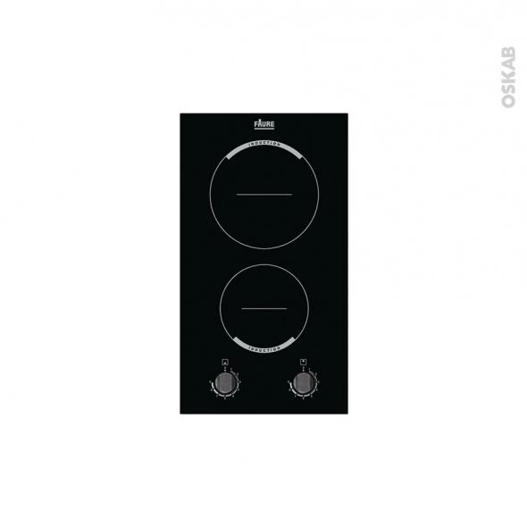 plaque de cuisson 2 feux induction 29 cm verre noir faure fhh3920bok oskab. Black Bedroom Furniture Sets. Home Design Ideas