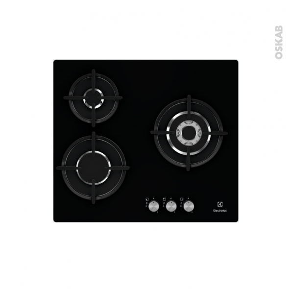 plaque de cuisson 3 feux gaz 60 cm verre noir electrolux egt6633nok oskab. Black Bedroom Furniture Sets. Home Design Ideas