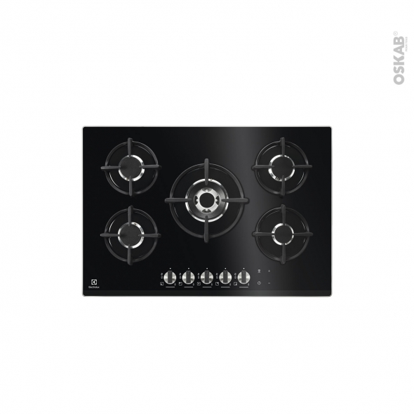 plaque de cuisson 5 feux gaz 75cm verre noir electrolux. Black Bedroom Furniture Sets. Home Design Ideas
