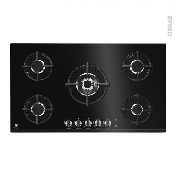 plaque de cuisson 5 feux gaz 90 cm verre noir electrolux. Black Bedroom Furniture Sets. Home Design Ideas