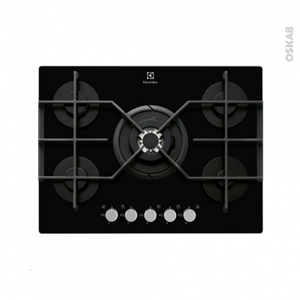 plaque de cuisson 5 feux gaz 70 cm verre noir electrolux egt7353yok oskab. Black Bedroom Furniture Sets. Home Design Ideas