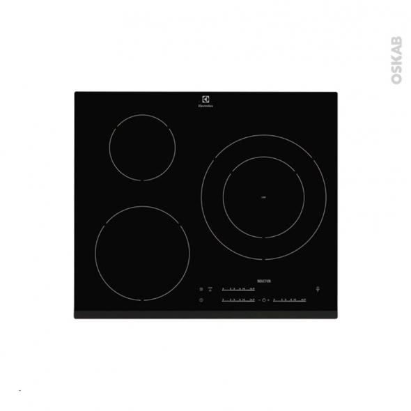 plaque de cuisson 3 feux induction 60 cm verre noir electrolux ehm6532fhk oskab. Black Bedroom Furniture Sets. Home Design Ideas