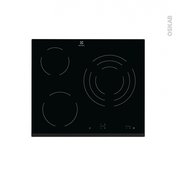plaque de cuisson 3 feux vitroc ramique 60 cm verre noir electrolux ehv6232fok oskab. Black Bedroom Furniture Sets. Home Design Ideas