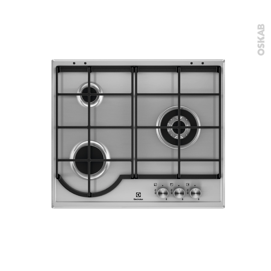 plaque de cuisson 3 feux gaz 60 cm email inox electrolux egh6333box oskab. Black Bedroom Furniture Sets. Home Design Ideas