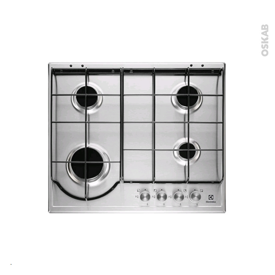 plaque de cuisson 4 feux gaz 60 cm email inox electrolux egh6242box oskab. Black Bedroom Furniture Sets. Home Design Ideas