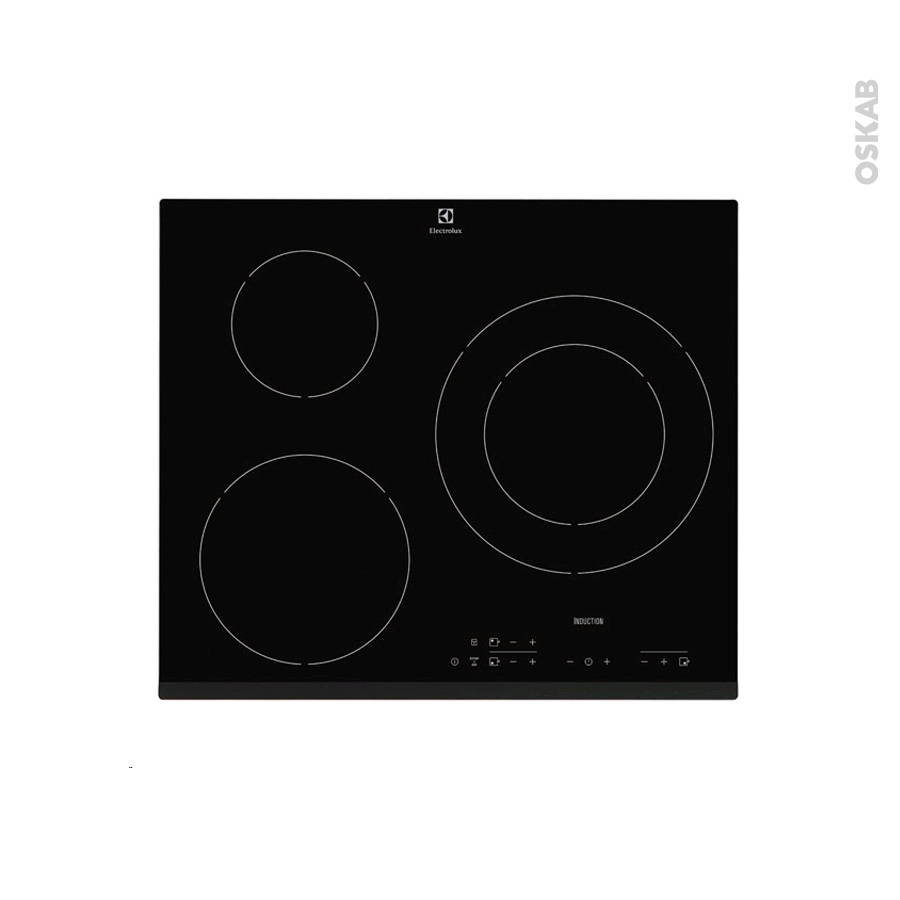 plaque de cuisson 3 feux induction 60 cm verre noir electrolux e6223hfk oskab. Black Bedroom Furniture Sets. Home Design Ideas