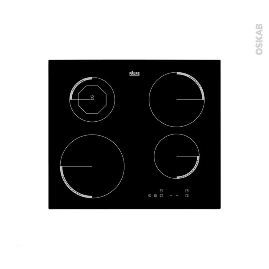 plaque de cuisson 4 feux induction 60 cm verre noir faure f6204iok oskab. Black Bedroom Furniture Sets. Home Design Ideas