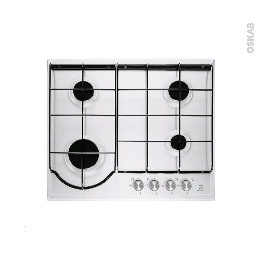 plaque de cuisson 4 feux gaz 60 cm email blanc electrolux egh6242bow oskab. Black Bedroom Furniture Sets. Home Design Ideas