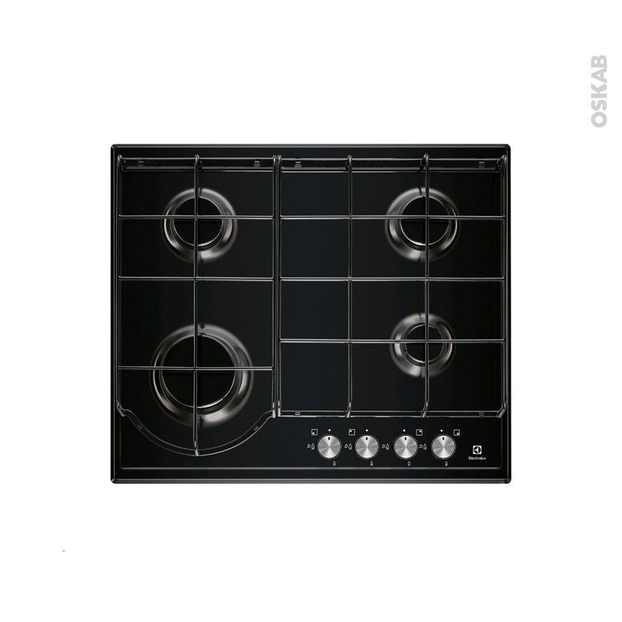 plaque de cuisson 4 feux gaz 60 cm email noire electrolux egh6242bok oskab. Black Bedroom Furniture Sets. Home Design Ideas