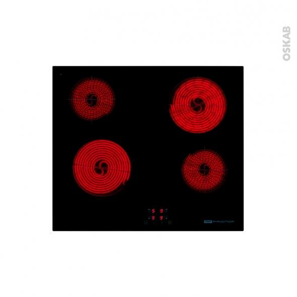 plaque de cuisson 4 feux vitroc ramique 60 cm verre noir frionor pvs584 oskab. Black Bedroom Furniture Sets. Home Design Ideas