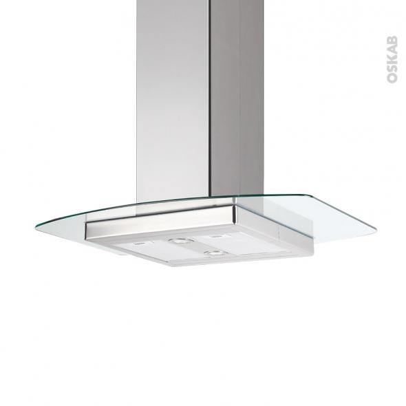 Hotte de cuisine aspirante ilot d corative 90 cm inox verre silverline kili - Hotte decorative 90 cm ...
