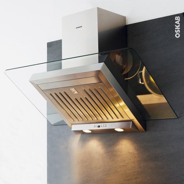 Hotte inclin e 60cm inox silverline atika oskab for Hotte cuisine inclinee