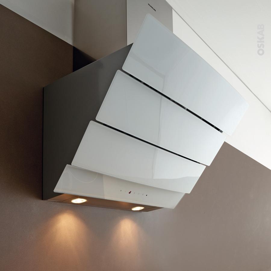 hotte de cuisine aspirante inclin e 90 cm verre blanc silverline city oskab. Black Bedroom Furniture Sets. Home Design Ideas