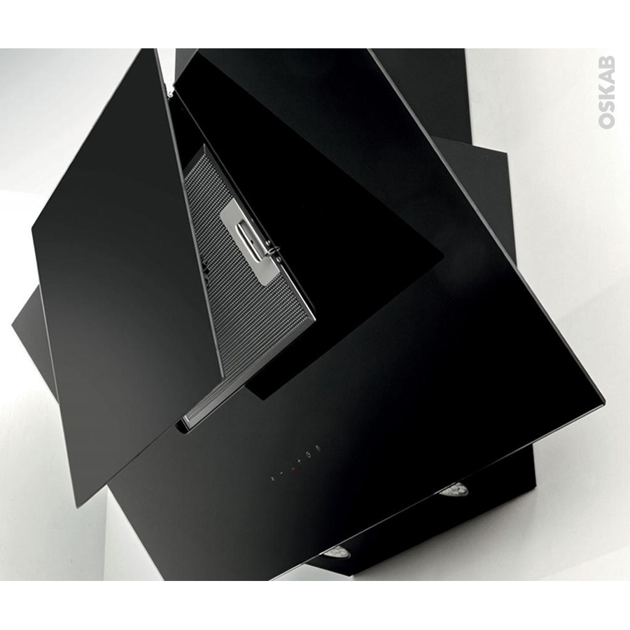hotte de cuisine aspirante inclin e 90 cm noire silverline. Black Bedroom Furniture Sets. Home Design Ideas