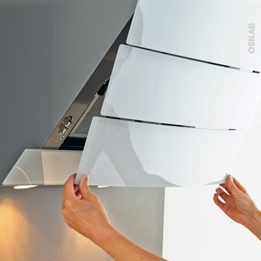 Hotte de cuisine aspirante inclin e 90 cm verre blanc - Hotte de cuisine 90 cm ...