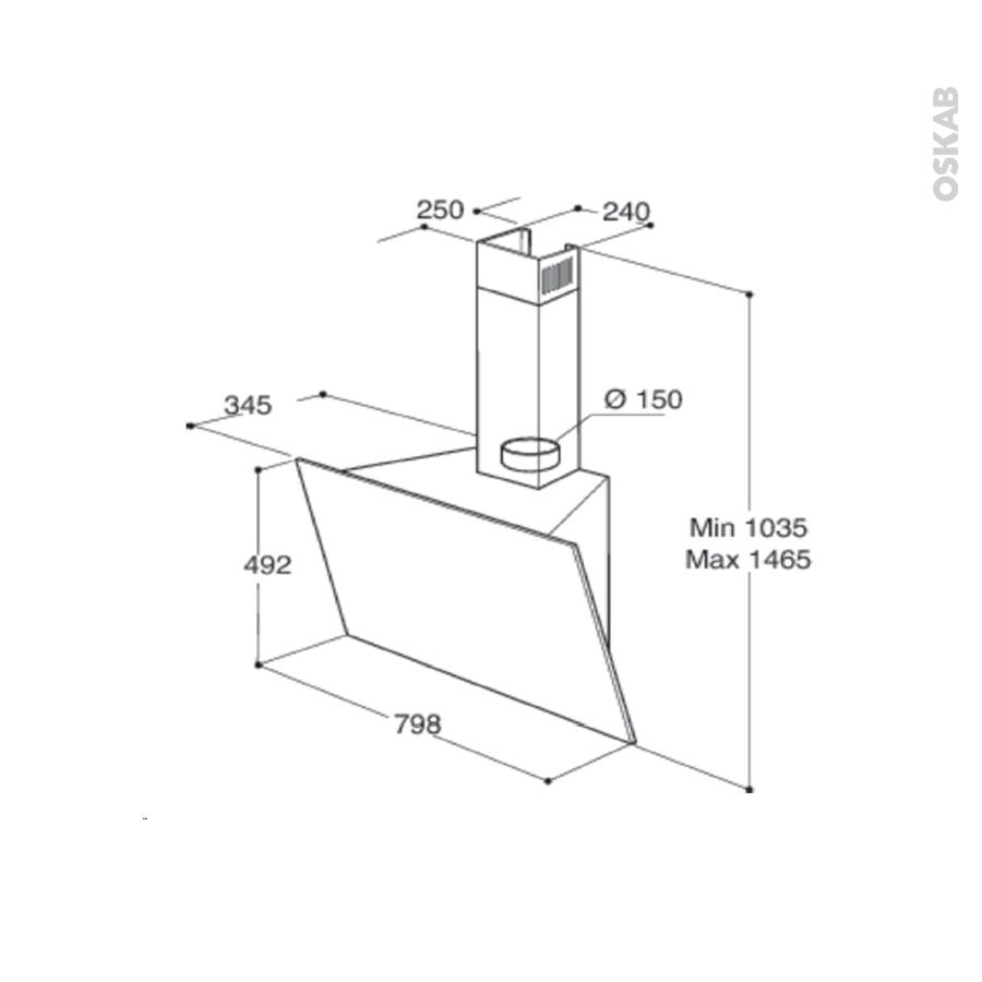 hotte de cuisine aspirante inclin e 80cm inox whirlpool akr 809 mr oskab. Black Bedroom Furniture Sets. Home Design Ideas