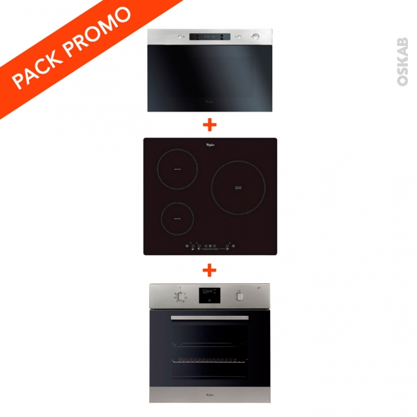 pack cuisson lectro four pyrolyse 60l micro ondes 22l plaque induction 3 foyers whirlpool oskab. Black Bedroom Furniture Sets. Home Design Ideas