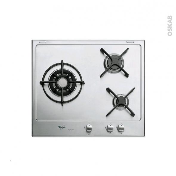 plaque de cuisson 3 feux gaz 60 cm email inox whirlpool akt615 ixl new oskab. Black Bedroom Furniture Sets. Home Design Ideas