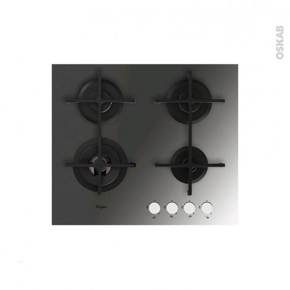 plaque gaz 4 foyers l60cm verre miroir whirlpool akt7000mr oskab. Black Bedroom Furniture Sets. Home Design Ideas