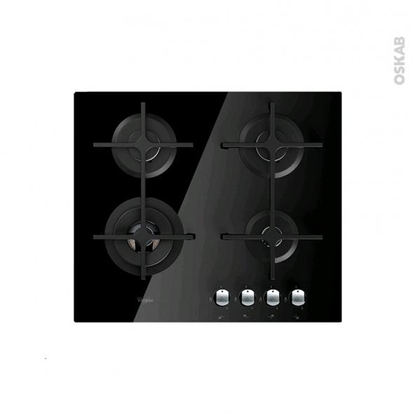 plaque gaz 4 foyers l60cm verre noir whirlpool akt7000nb oskab. Black Bedroom Furniture Sets. Home Design Ideas