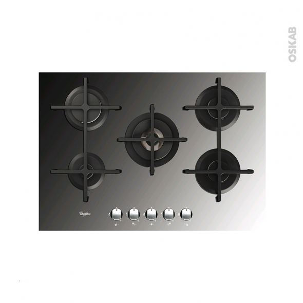 plaque gaz 5 foyers l75cm verre miroir whirlpool akt8000mr oskab. Black Bedroom Furniture Sets. Home Design Ideas