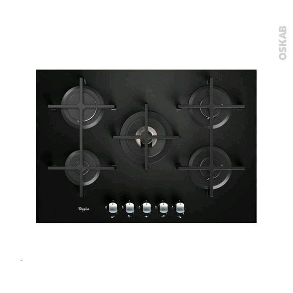 plaque de cuisson 5 feux gaz 75 cm verre noir whirlpool. Black Bedroom Furniture Sets. Home Design Ideas