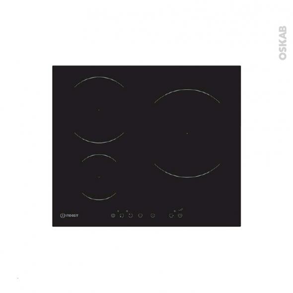 plaque de cuisson 3 feux induction 60 cm verre noir indesit via 630 l c oskab. Black Bedroom Furniture Sets. Home Design Ideas