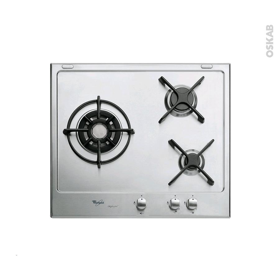 plaque de cuisson 3 feux gaz 60 cm email inox whirlpool. Black Bedroom Furniture Sets. Home Design Ideas